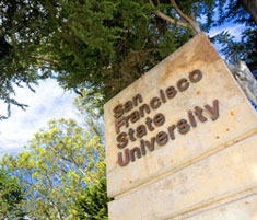 A sign on campus reads 'San Francisco State University.'