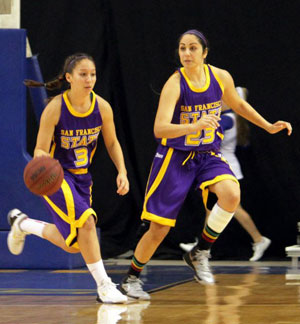A photo of Gator women's basketball players Angela Van Sickel and Farrah Shokoor in a game this year.