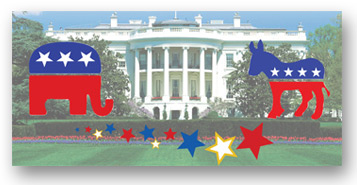 Photo of the White House with graphics of an elephant and donkey representing the Republican and Democratic parties