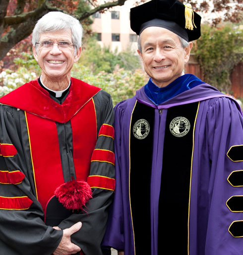 Photo of Reverend Stephen A. Privettt, SJ, president of University of San Francisco (left) and SF State President Leslie Wong