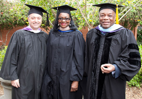 Photo of John Gumas, chair of the San Francisco State University Foundation (from left), Alumna Leona Bridges and the Honorable Willie L. Brown, Jr., alumnus and former Mayer of San Francisco