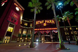 The main gate to AT&T Park, at night.