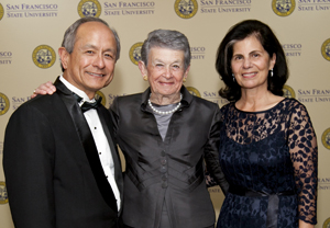 A photo of Adele Corvin with President Les Wong and Phyllis Wong.
