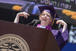 A photo of student Commencement speaker Kathleen Downing