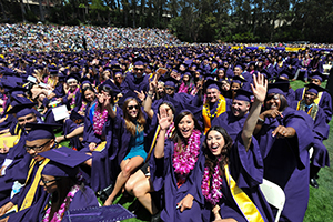 SF State graduates on the field during the 2013 Commencement ceremony.