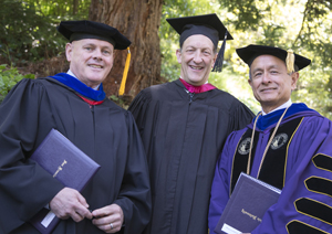 A photo of CSU Board of Trustees Chair A. Robert Linscheid, SF Giants President and CEO Larry Baer and SF State President Leslie E. Wong