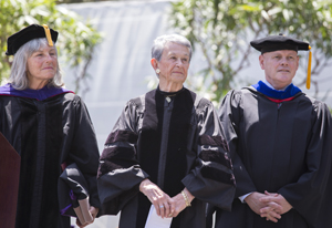 A photo of CSU Trustee Roberta Achtenberg, honorary degree recipient Adele Corvin and CSU Board of Trustees Chair A. Robert Linscheid.