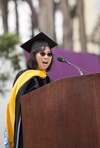 Rong Wang delivers the keynote address during SF State's Graduate Commencement ceremony