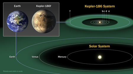 A diagram comparing the planets of the inner solar system to Kepler-186, a five-planet system about 500 light-years from Earth in the constellation Cygnus.