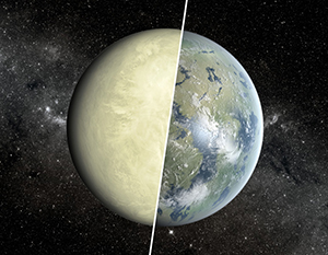 An artists rendering, showing Earth and Venus in a split image.