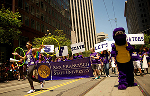 SF State students, faculty and staff marching down Market Street during San Francisco Pride 2013.