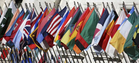 A photo of international flags.