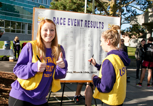 A photo of volunteers during the XLR8@SF State 5K Walk/Run.