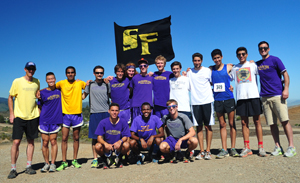 A photo of the SF State men's cross-country team at the Crystal Springs Invitational in Belmont.