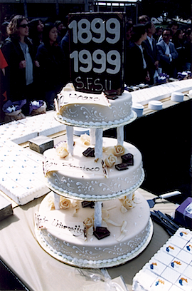 Photo of SF State's centennial birthday celebration cake on the Main Quad