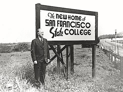 Photo of former SF State President Alexander C. Roberts at the site of SF State's future campus on 19th and Holloway Ave.
