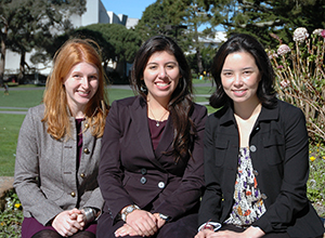 Photo of SF State students Tricia Mittra, Xochilt Borja and Kimberly Spaulding in the SF State quad.