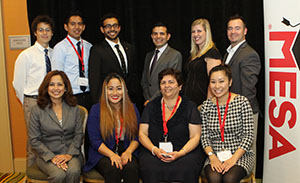 A photo of SF State students and MESA Engineering Program Director Nilgun Ozer with industry representatives at the MESA Student Leadership Conference in San Diego.
