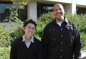 Photo of graduate students Lauron Elvin and Joseph Beyene
