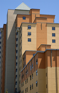 A photo of The Towers residence hall at SF State.