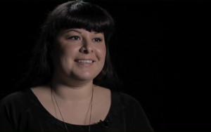A screenshot of Julie Mendez, from her Veteran Documentary Corps film.
