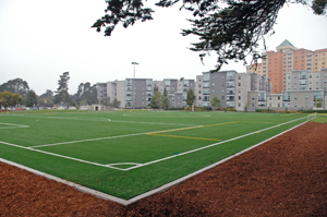 A photo of the West Campus Green at SF State.