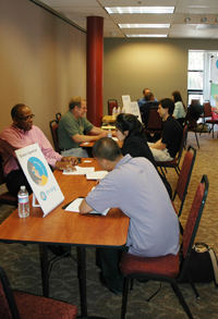 A photo of students and employers at a career fair in the Towers Conference Center at SF State on May 1.