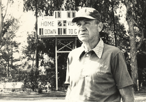 A photo of former SF State football coach Vic Rowen.