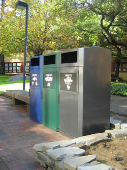 A photo of new waste, compost and recycling bins near Burk Hall